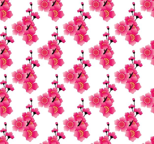 Modèle sans couture de fleur rose, vecteur de fond sakura