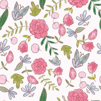 Modèle sans couture de fleur rose
