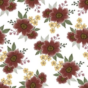 Modèle sans couture de fleur rouge foncé pour la conception de tissu