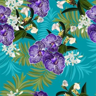 Modèle sans couture avec fleur tropicale