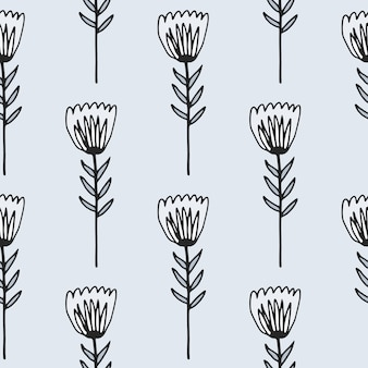 Modèle sans couture de fleur de tulipe de contour. ornement floral avec contour noir sur fond clair.
