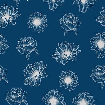 Modèle sans couture fleur vintage bleu et blanc