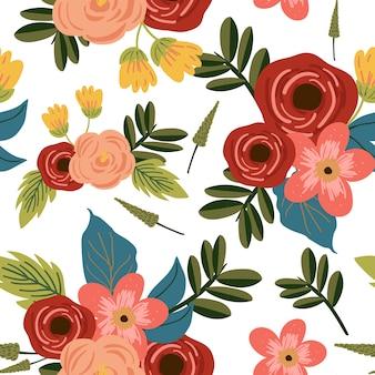 Modèle sans couture de fleur vintage