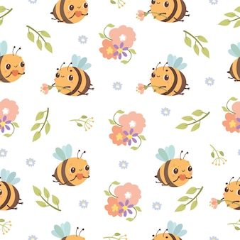Modèle sans couture avec des fleurs et des abeilles