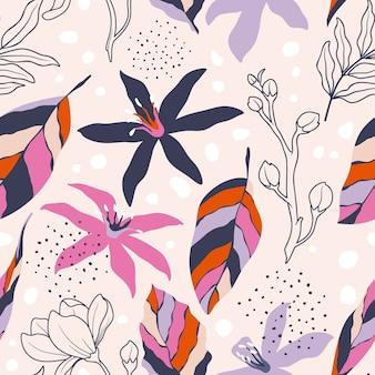 Modèle sans couture avec fleurs abstraites et partir.