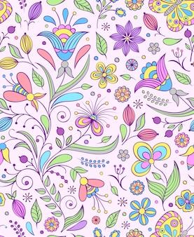 Modèle sans couture avec fleurs abstraites