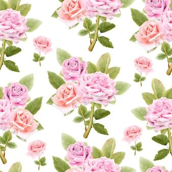 Modèle sans couture de fleurs aquarelle
