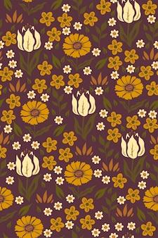 Modèle sans couture avec des fleurs aux couleurs moutarde