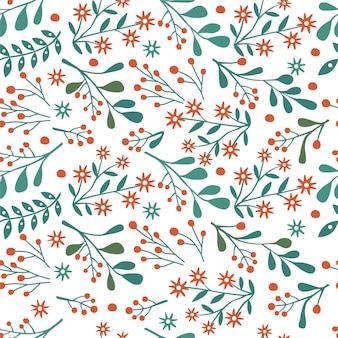 Modèle sans couture avec des fleurs de baies de feuilles