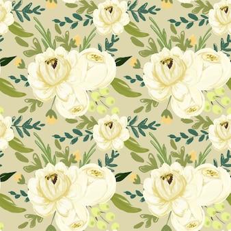 Modèle sans couture de fleurs blanches et feuillage vert