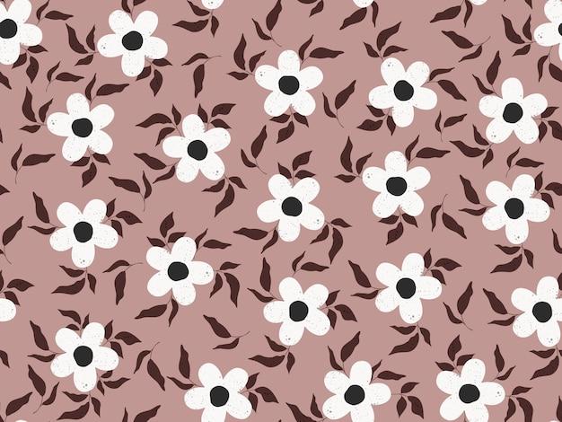 Modèle sans couture avec fleurs blanches et feuilles sur fond beige.