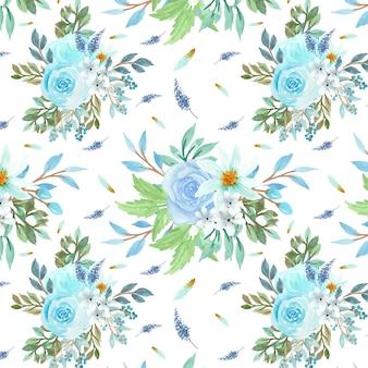 Modèle sans couture avec fleurs bleues