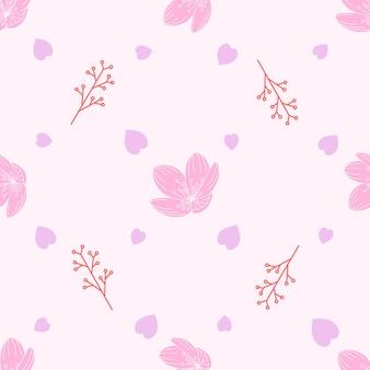 Modèle sans couture de fleurs de cerisier et de baies