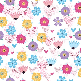 Modèle sans couture avec fleurs et coeurs