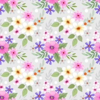 Modèle sans couture de fleurs colorées dessinées à la main