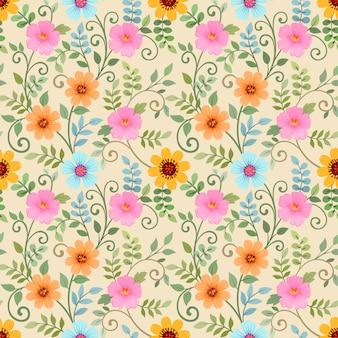 Modèle sans couture avec des fleurs colorées sur jaune