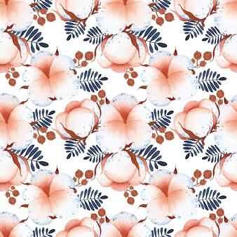 Modèle sans couture de fleurs de coton