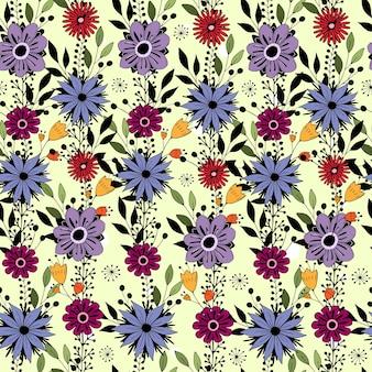 Modèle sans couture avec des fleurs de dessin animé