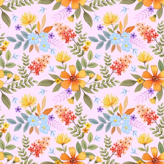 Modèle sans couture de fleurs dessinées à la main coloré