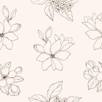 Modèle sans couture de fleurs dessinées à la main élégante