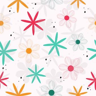 Modèle sans couture de fleurs dessinées à la main mignonne