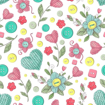 Modèle sans couture fleurs et éléments tricotés à la main pour le crochet et le tricot