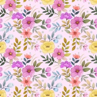 Modèle sans couture de fleurs épanouies colorées