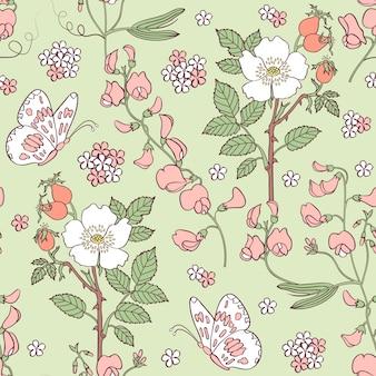 Modèle sans couture avec des fleurs d'été