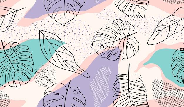Modèle sans couture avec fleurs et feuilles abstraites.