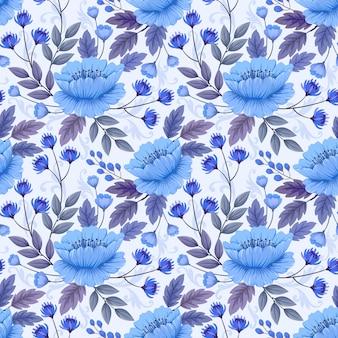 Modèle sans couture de fleurs et feuilles bleu monochrome