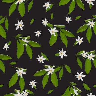 Modèle sans couture fleurs et feuilles de fleur d'oranger