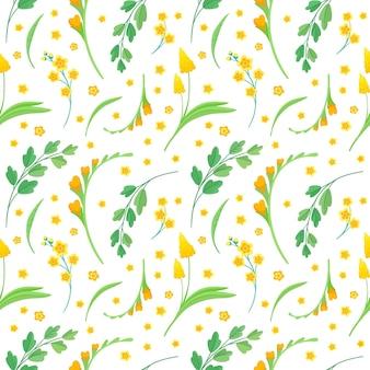 Modèle sans couture de fleurs et de feuilles jaunes