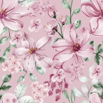 Modèle sans couture avec fleurs et feuilles de printemps