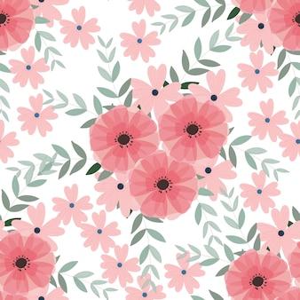 Modèle sans couture de fleurs et de feuilles sauvages bleu et rose
