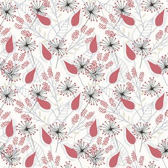 Modèle sans couture avec des fleurs et des feuilles tropicales rouges