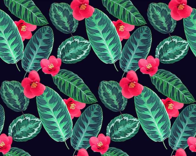 Modèle sans couture de fleurs et feuilles tropicales.
