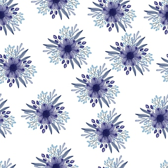 Modèle sans couture avec fleurs et feuilles en violet et gris