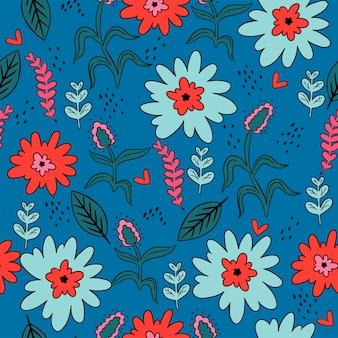 Modèle sans couture avec fleurs et feuilles