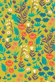 Modèle sans couture avec fleurs et feuilles.