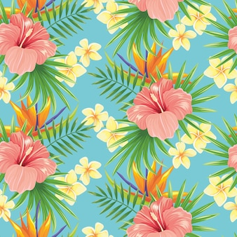 Modèle sans couture de fleurs. fleur de printemps élégant, feuilles de plantes tropicales et fond de tuiles ornementales florales