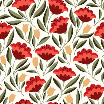 Modèle sans couture de fleurs folkloriques