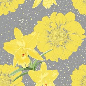 Modèle sans couture fleurs fond abstrait de couleur grise.