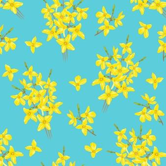 Modèle sans couture avec des fleurs de forsythia jaune sur fond bleu.