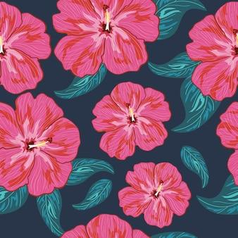 Modèle sans couture de fleurs d'hibiscus de couleur rose