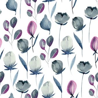 Modèle sans couture de fleurs indigo aquarelle