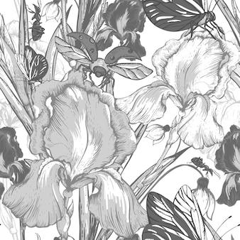 Modèle sans couture de fleurs de jardin vintage