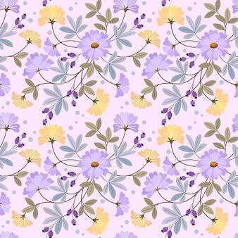 Modèle sans couture de fleurs jaunes et violettes en fleurs.