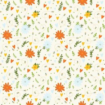 Modèle sans couture avec des fleurs jaunes