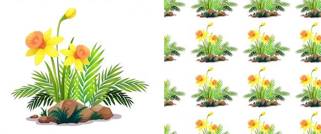 Modèle sans couture avec des fleurs de jonquille sur des pierres