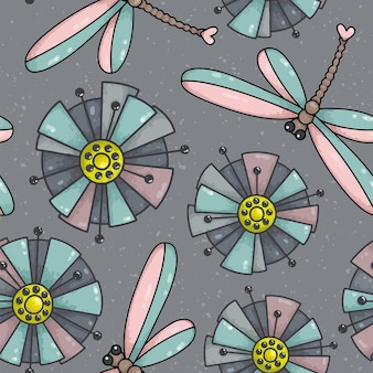 Modèle sans couture avec fleurs et libellules
